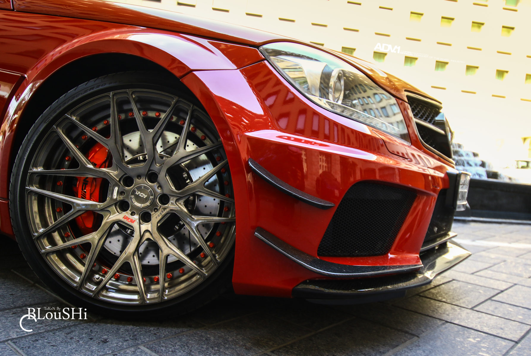 Lovely Red Mercedes Benz C63 AMG Gets ADV10.0 M.V2 Wheels