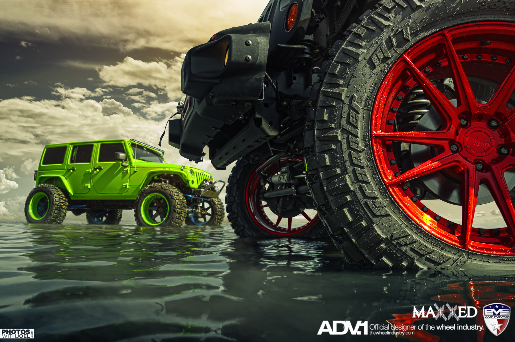 Green Jeep Wrangler >> ADV.1 | HARDCORE DP | 2x Jeep Wranglers | EVS Motors | Maxxed Performance - ADV.1 Wheels