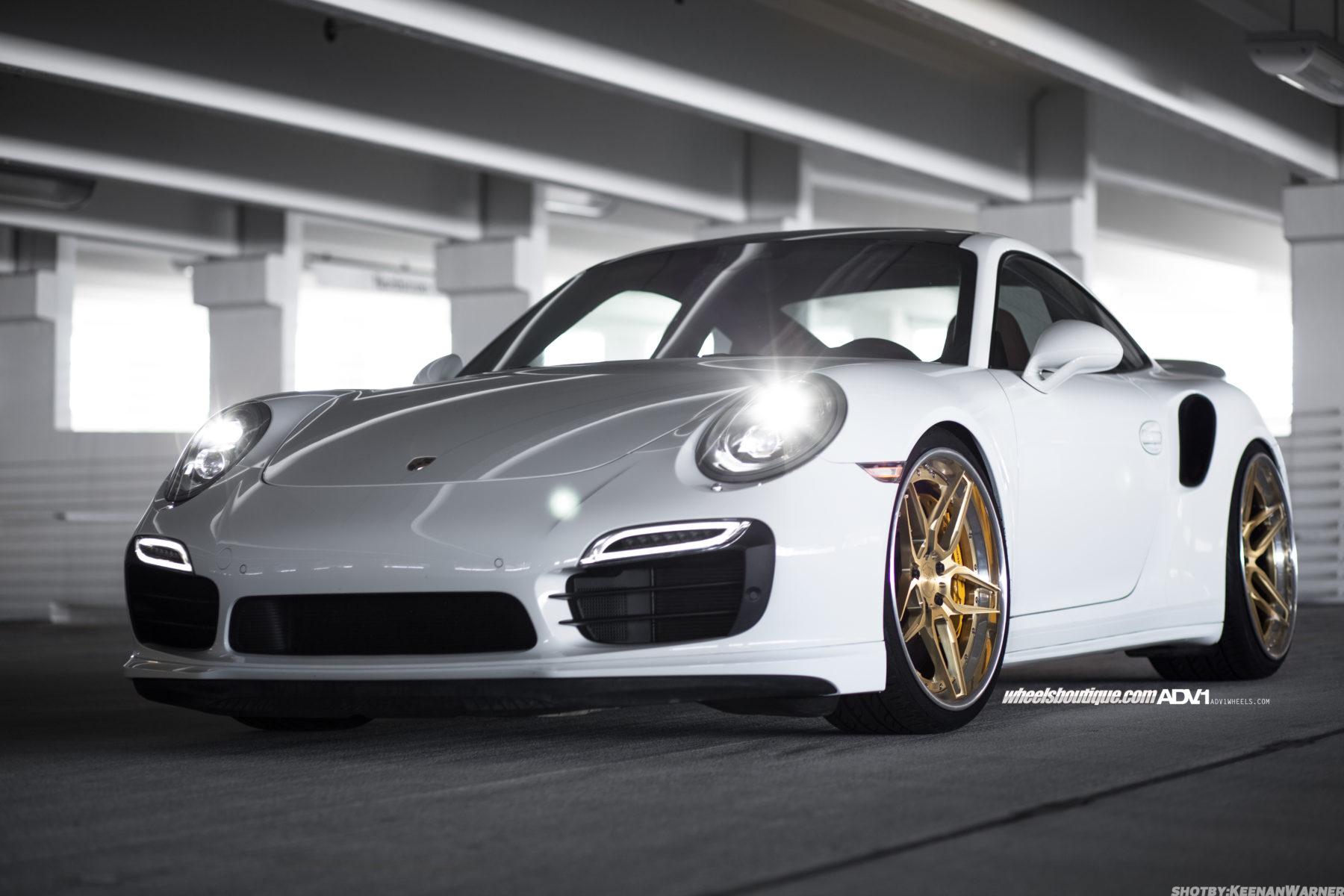 White Porsche Turbo S Adv05s Track Spec Cs Series Wheels
