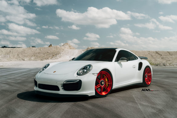White Porsche 911 Turbo S - ADV07R M.V2 CS Series Wheels | 20x9.5 Front | 20x12.5 Rear | Finish: Brushed Gloss Red