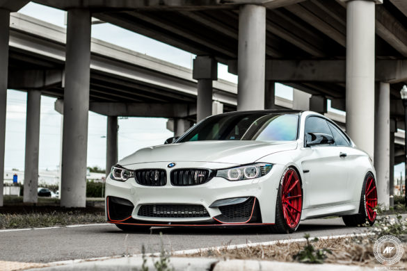 Alpine White BMW M4 - Red ADV10 M.V2 CS Series - ADV.1 Wheels
