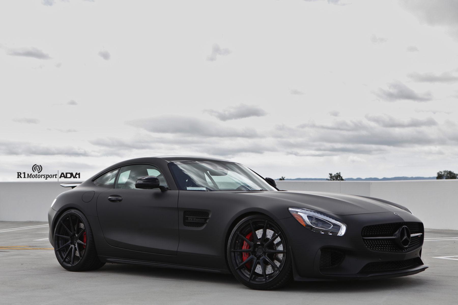 Matte black mercedes benz amg gt s adv10 m v2 sl concave for Mercedes benz black on black