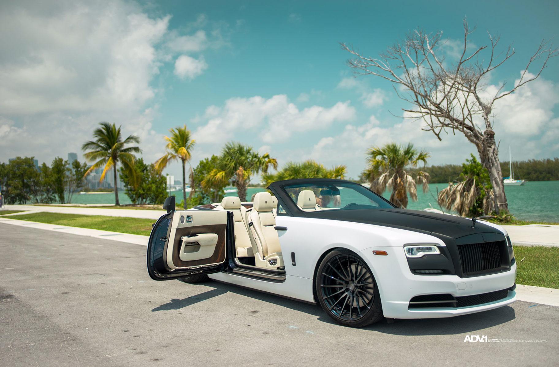 White Rolls Royce Dawn Adv15 M V2 Cs Concave Wheels