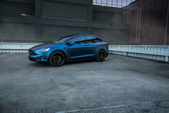 Dark Blue Matte Metallic Tesla Model X – ADV6 Track Spec SL Wheels