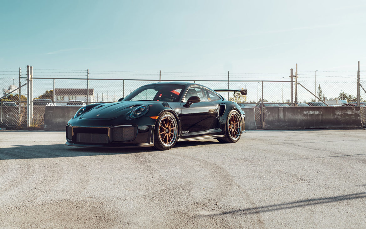Black Porsche GT2 RS - ADV10 Track Spec CS Wheels - Brushed Matte Cognac with Polished Aluminum