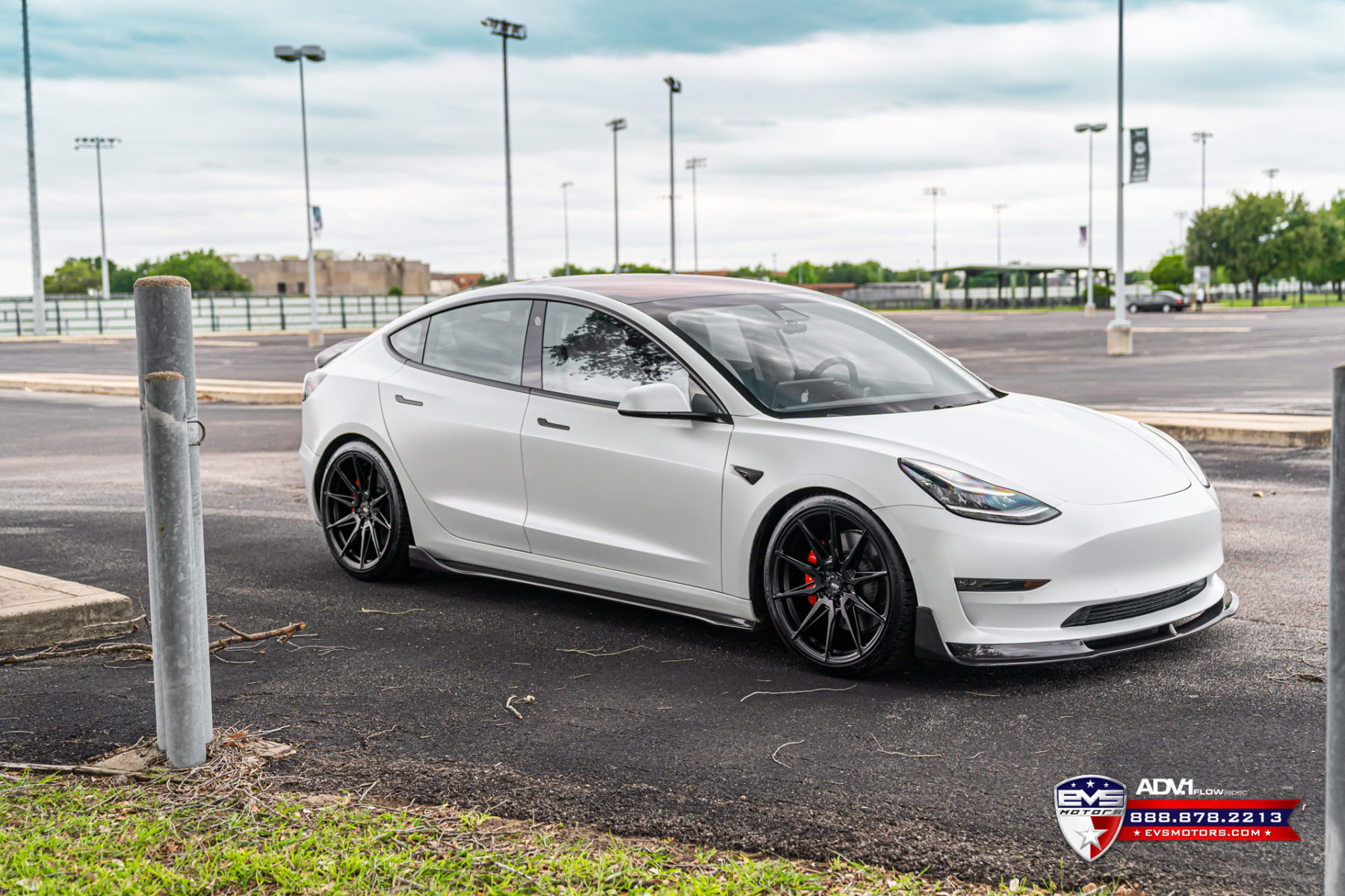 White Tesla Model 3 Performance - ADV5.0 FLOWspec Wheels in Satin Black