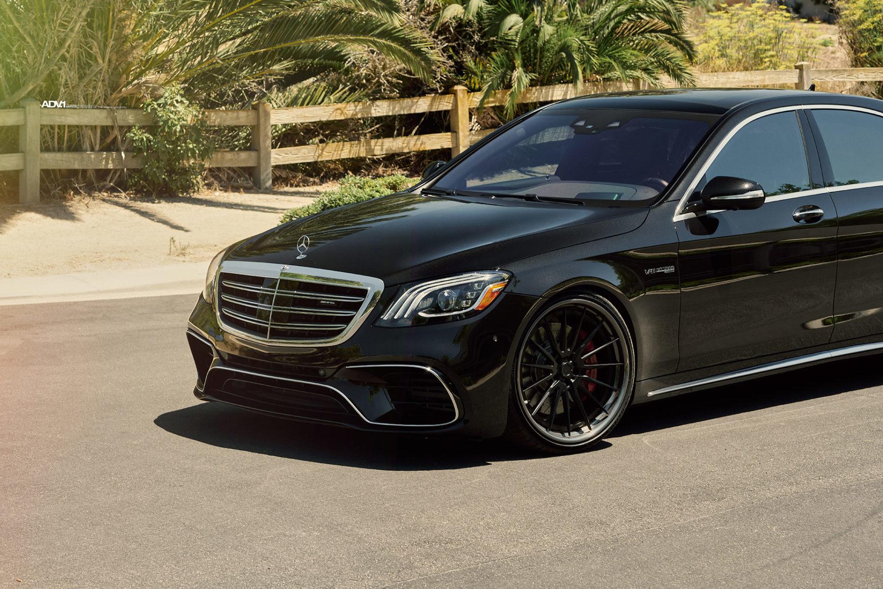 Black Mercedes S63 AMG - ADV15 Track Spec CS Wheels - Matte Black w/ Gloss Gunmetal Lips