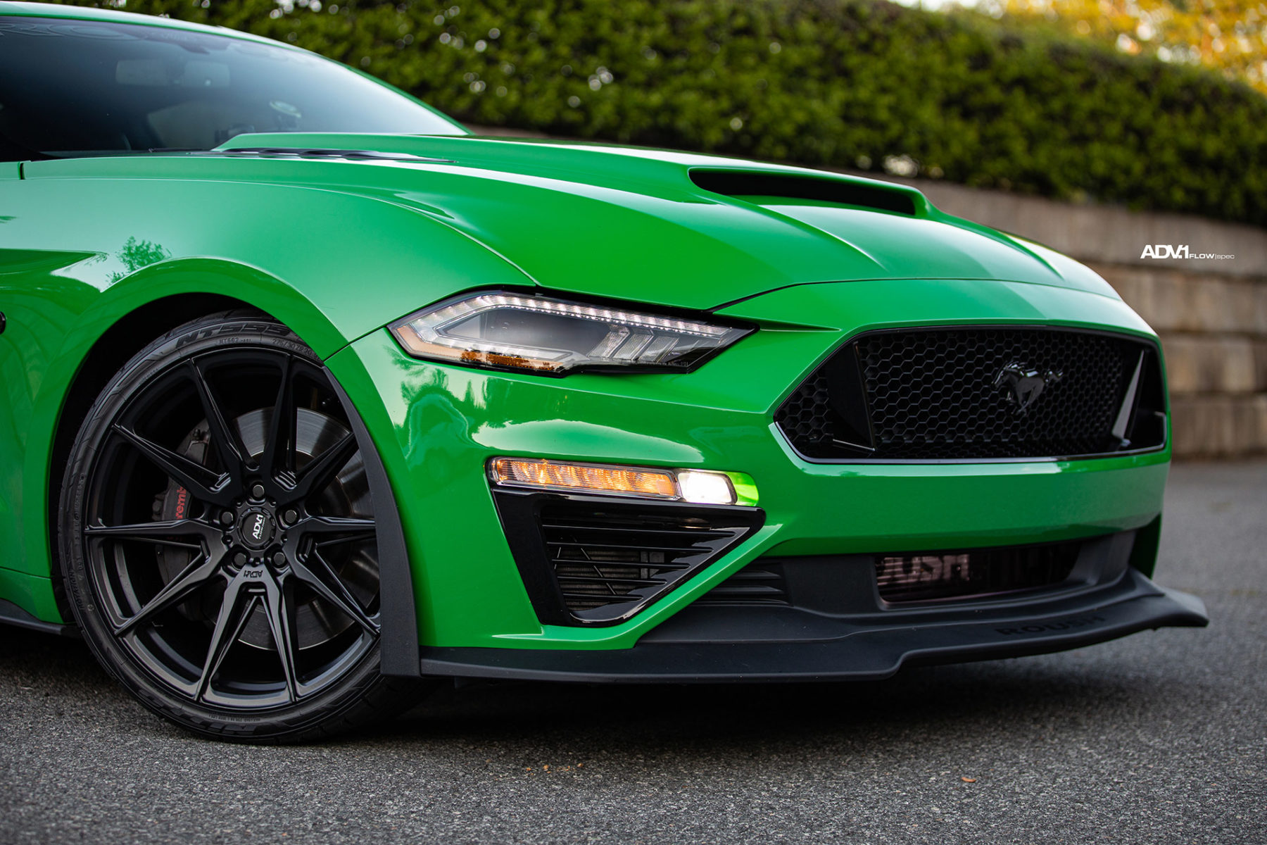 Green Roush Supercharged Ford Mustang GT - ADV5.0 FLOWspec Wheels in Satin Black