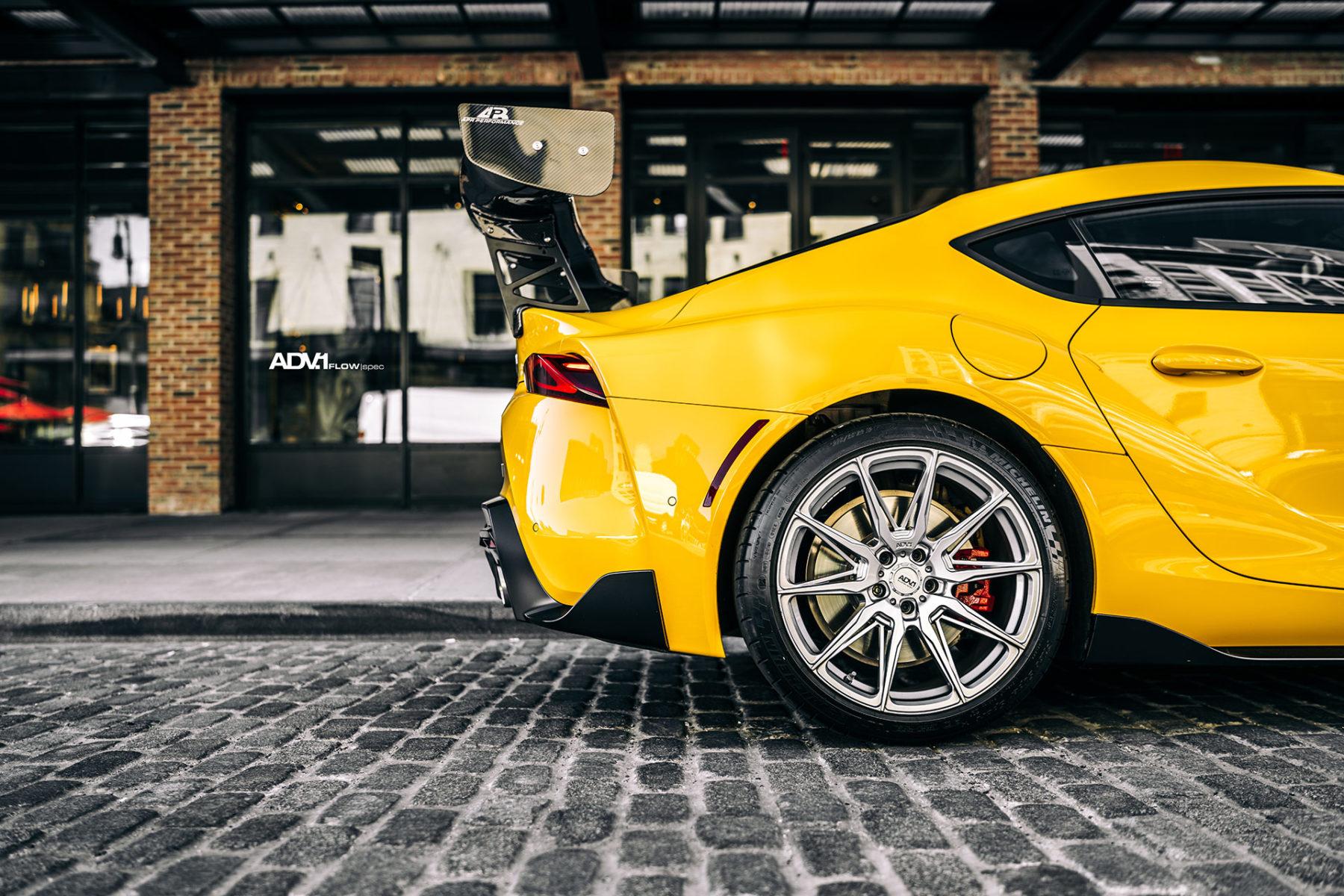 Yellow Toyota Supra MKV - ADV5.0 FLOWspec Wheels in Platinum