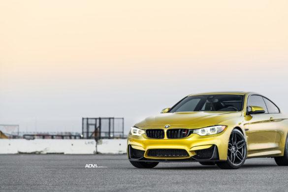 Austin Yellow BMW F82 M4 - ADV005 FLOWspec Wheels in Satin Black