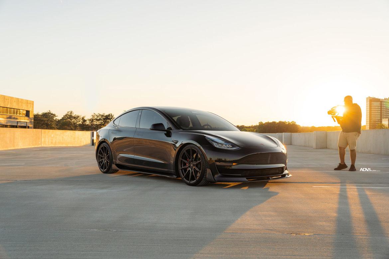 Black Tesla Model 3 Performance - ADV005 FLOWspec Wheels in Satin Black